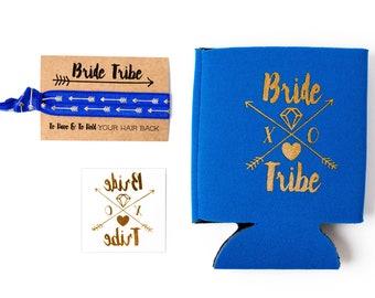 Royal Blue Bride Tribe Bachelorette Gift Set   Metallic Gold Tattoo, Hair Tie + Drink Cooler   Bachelorette Favors, Bachelorette Party Favor