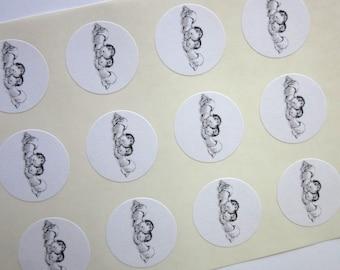 Baby Twins Stickers One Inch Round Seals