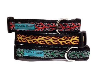 """Hot Rod Flames Dog Collar 
