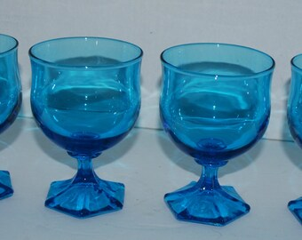 Caribbean blue glasses set of 4  vintage glass  blue glassware hexagon base  vintage barware