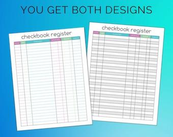 Checkbook Register Printable Organize Finances Teal Purple