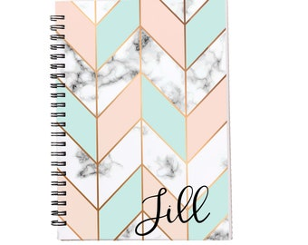 Chevron Marble Personalized Spiral Notebook, Journals for Women & Girls, Custom Notebooks, Lined Spiral Notebooks