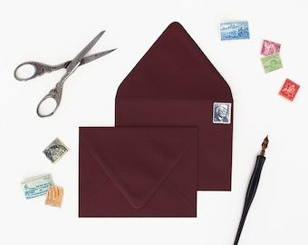 Envelopes - A7 Size - Set of 25 - Merlot Color - Deep V Euro Flap