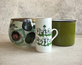 Instant collection of green cups, vintage Irish Coffee cup, Irish Coffee recipe cup, St. Patrick's Day cups, green enamel cup, Talavera cup
