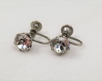 Vintage Silver Tone Faux Diamond Earrings with Screwback