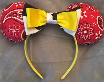 Jessie from Toy Story Inspired Minnie Ears! Perfect for any Cowgirl! Handmade Sewn & Stuffed- Fits Child to Adult