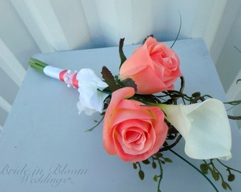 Jr. Bridesmaid Wedding bouquet - Coral white real touch calla lily silk rose - Flower girl bouquet