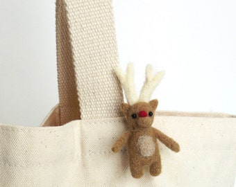 Christmas deer brooch : needle felted miniature Rudolph reindeer pin - light brown, stock stuffer, animal gift