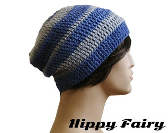 Blue and grey mens slouch beanie hat