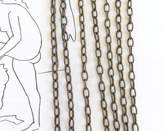 Brass Ox Cable Chain, Oval Cable Chain, 6mm, 10Ft