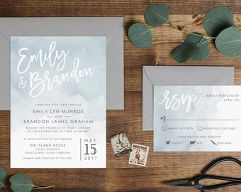 Dusty Blue Watercolor Wedding Invitation // Digital or Printed //