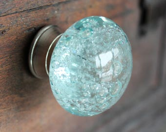 Glass Drawer Knobs with bubbles in Light Blue - Glass Knobs with Bubbles - Glass Cabinet Knobs (CK16)