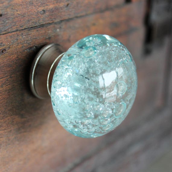 Beau Glass Drawer Knobs With Bubbles In Light Blue Glass Knobs