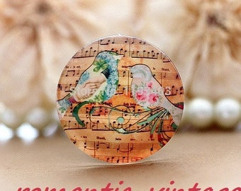 """2 cabochons vintage inspired """"Symphony"""", 20mm glass domes"""
