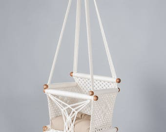 Baby Swing Chair in Macrame made in cream color Cotton and Sustainable native wood