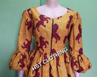 Jenny African top, Ankara top, top, gathered top,African blouse, Ankara blouse,African top, gift for her,Christmas gift