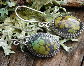 Green and Black Turquoise Dangle Earrings