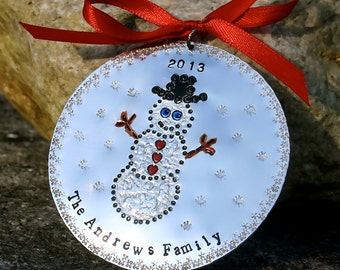 Snowman Personalized Original Artwork - Hand Forged/Hand Stamped Hard Anodized Aluminum Christmas Ornament -
