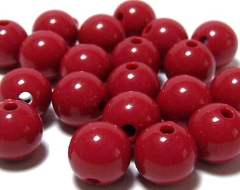 round beads 10 x 10mm cherry red plastic