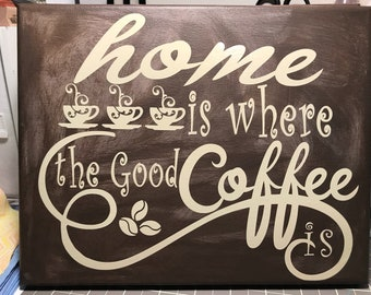 Home is where the good coffee is wall hanging.