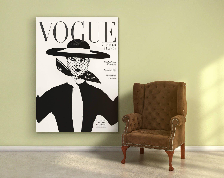 Vogue 1950 cover print. Vintage magazine poster. Vogue cover