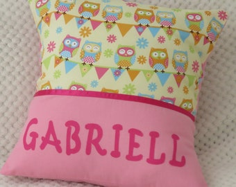 Children's Personalised Character Cushion Cover - Bunting Owls -