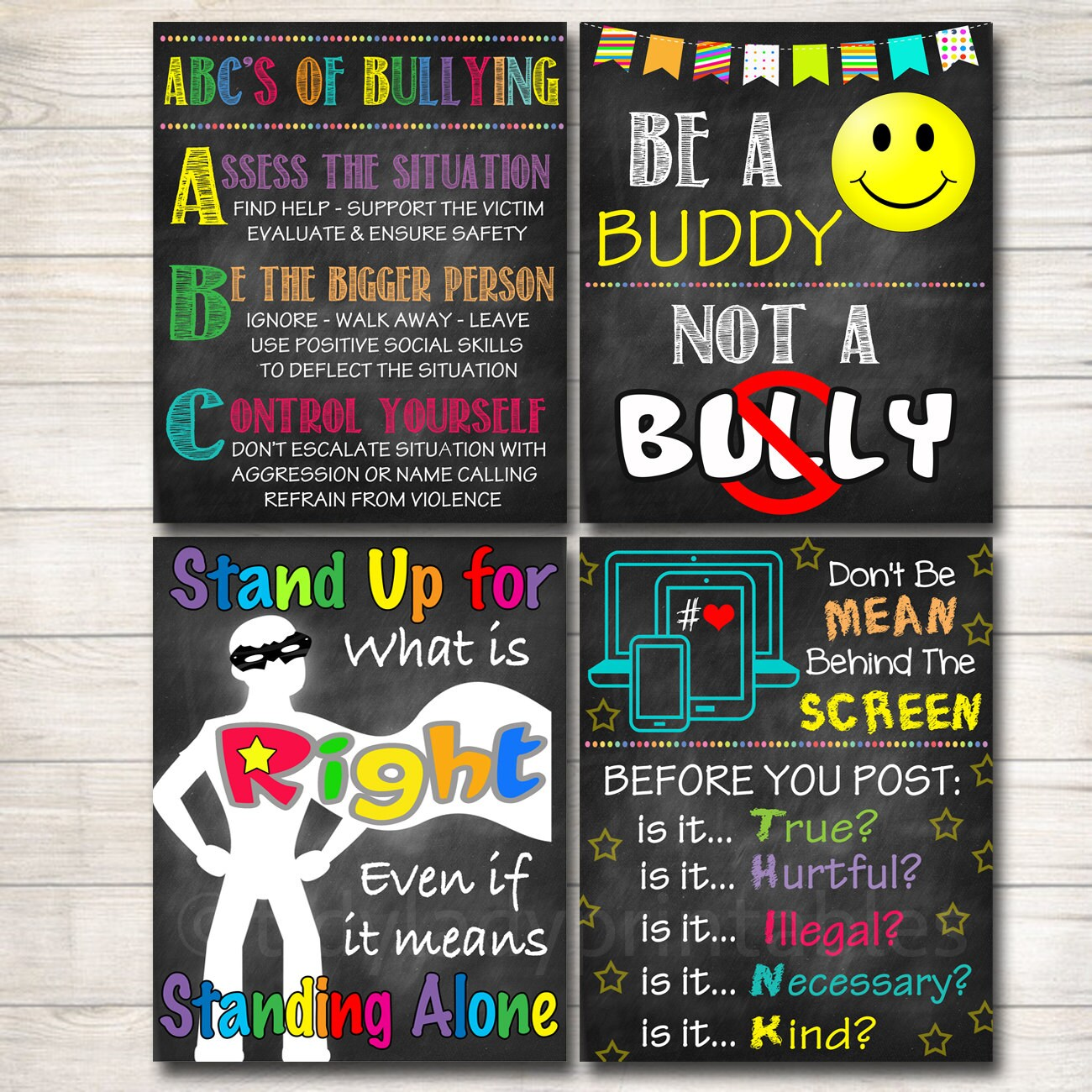 anti bully poster pack classroom decor counselor office