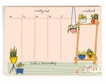 Houseplants | Weekly List Desk Notepad