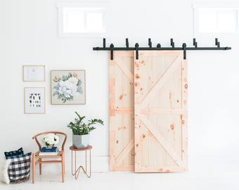 8-Foot Bypass Barn Door Hardware (Black) - Includes Easy Step-By-Step Installation Video - Ultra Quiet, Successfully Tested 100,000 Rolls