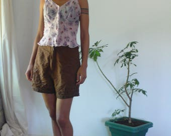 Vintage High Waist 70s Gingham Retro Pin Up Shorts, Her body full of stories and situations.