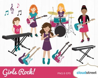 BUY 2 GET 1 FREE Girls Rock band clipart / rock band clip art / girl band clipart / music clipart / rock star clipart / commercial use ok
