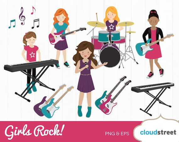 buy 2 get 1 free girls rock band clipart rock band clip art rh etsy com punk rock band clipart rock band stage clipart