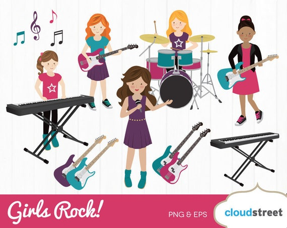 buy 2 get 1 free girls rock band clipart rock band clip art rh etsy com cartoon rock band clipart rock band clipart free
