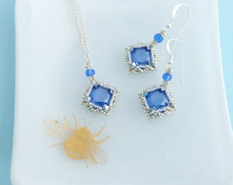 Royal Blue Jewellery Set, Matching Pendant and Earrings, Swarovski Crystal and Sterling Silver, Bridesmaid Jewelry Set