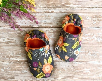 Boho Spring Flowers & Leaves Baby Toddler Moccasin Crib Shoes Soft Sole Booties, Earthy, Bohemian, Melon, Lime, Yellow, Feminine-Shower Gift