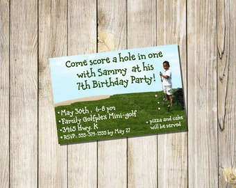 Custom Design for Golf themed Birthday or Holiday Card or Invitation YOU PRINT at home or photo center
