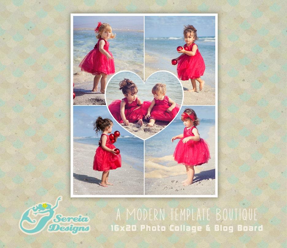 Corazón foto Collage 16 x 20 plantilla & Blog Junta