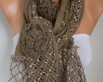 Valentine's Gift,Milky Brown Floral Knitted Scarf,Winter Scarf, Shawl Oversized Wrap Bridesmaid Gift Ideas For Her Women Fashion Accessories