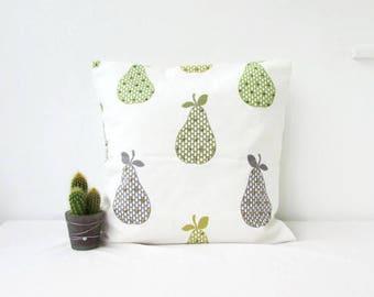 Pear print cushion cover, modern pillow cover, green fruit pattern, green decor, British designer fabric, Handmade in the UK