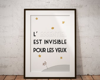 Little Prince Quote Print, PRINTABLE ART, Petit Prince, French Quote, L'essentiel est invisible pour les yeux, Wall Decor, Inspirational Art