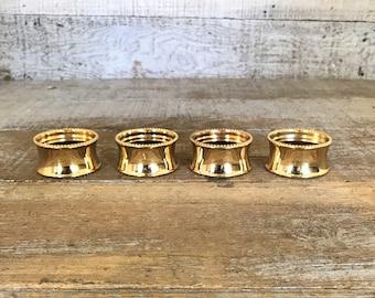 Brass Napkin Rings 4 Brass Napkin Holders Mid Century Gold Napkin Ring Hammered Brass Napkin Ring Holder Set Hostess Gift Dinner Party Decor