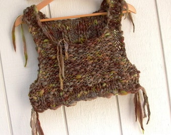 earth song. hand knit cropped sweater vest bodice . rustic bohemian elven gypsy faery folk mori girl . brown chartreuse wool sari silk