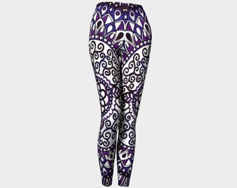 Lavender Lace Leggings    Abstract-Purple-Wearable Art-Teen-Women-Ladies-Pants-Fashion-Clothes-Clothing-Canada-Hand Sewn-XS-S-M-L-XL