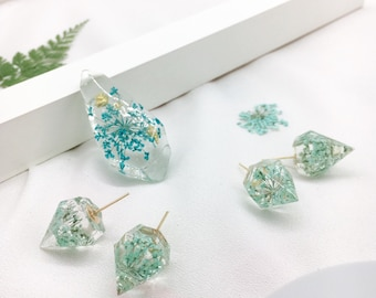 Resin blue flowers earrings