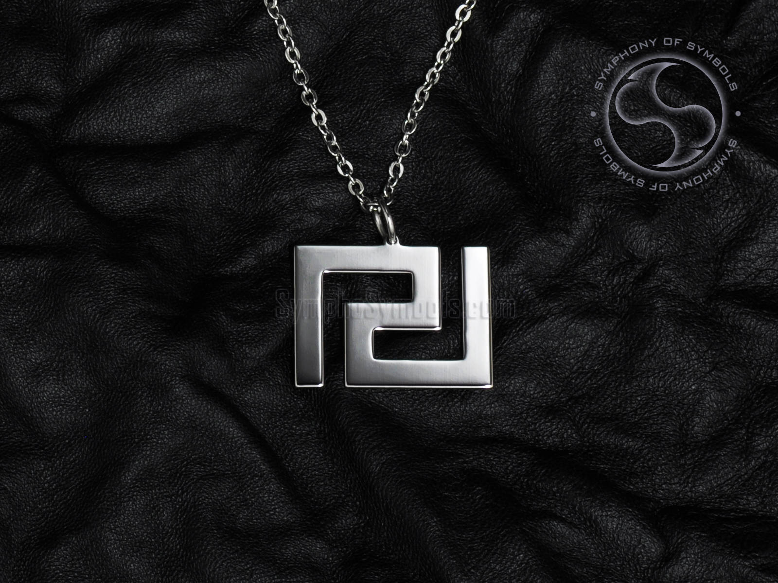Meander pendant greek symbol stainless steel jewelry greek key zoom biocorpaavc