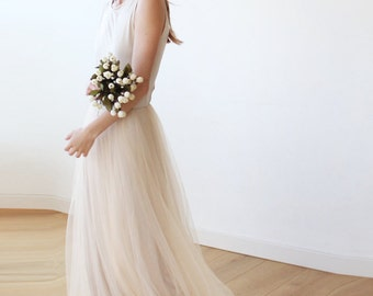 Champagne Wedding Backless maxi tulle gown, Sleeveless Low back bridesmaids tulle dress 1086