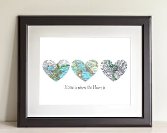 CUSTOM Three Heart Map Art Print. Home Is Where The Heart Is. Print Only. NO Frame. You Select Locations Worldwide and Personaized Text.