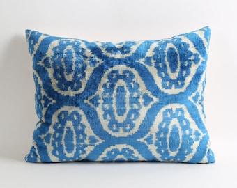 Ikat-Kissen, blauem Samt Ikat Kissenbezug, 16 x 20 blau-weißen Ikat-Kissen, handgewebte Kissen, Akzentkissen, Kissen