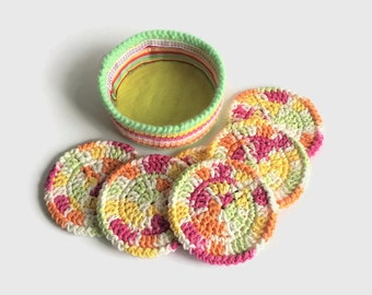 Colorful Crochet Coaster Set, Cotton Coasters with Holder, Set of Six Mug Rugs