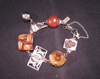 Vintage Earring Bracelet, Bridesmaid Bracelet, Repurposed, Upcycled, Charm, Jennifer Jones, OOAK,Under 40, Brown, Silver - Chocolate Martini